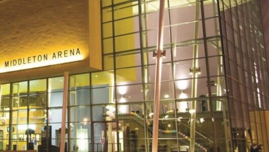 The exterior of Middleton Arena at night