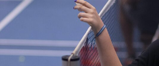 A person holds a shuttlecock over a badminton net