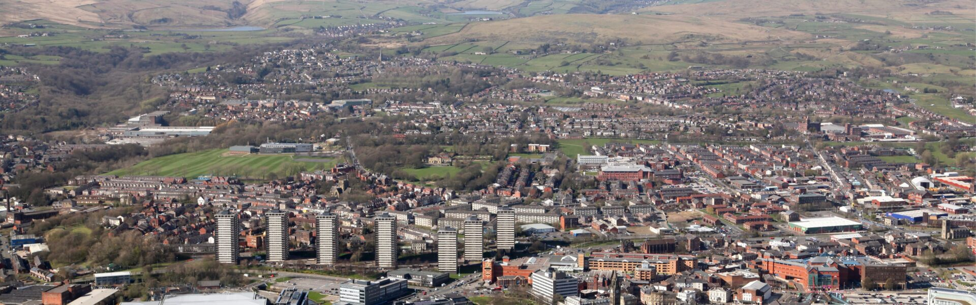 Aerial view of Rochdale, UK