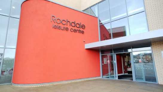 The entrance to Rochdale Leisure Centre