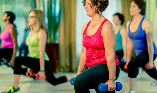 A bootcamp health and fitness class.