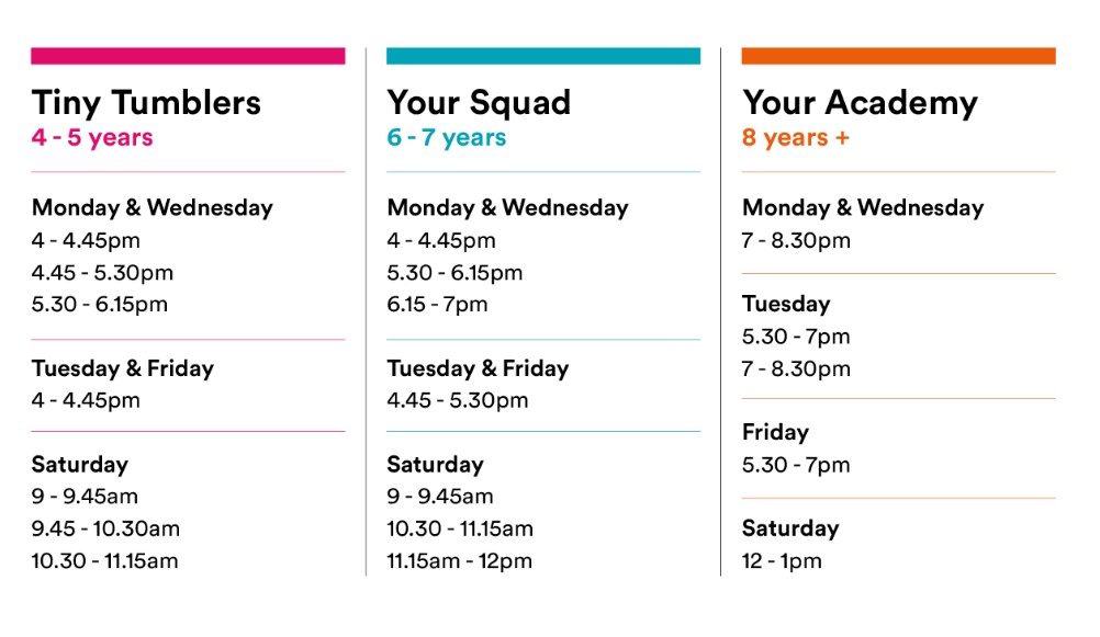 Current Your Gymnastics timetable