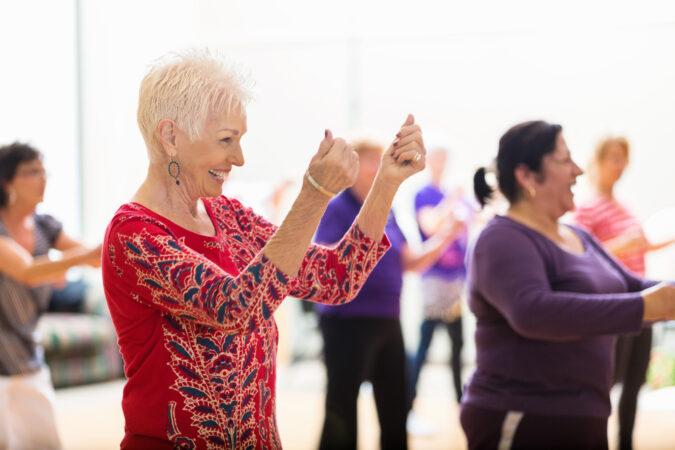 Lady enjoys dance class