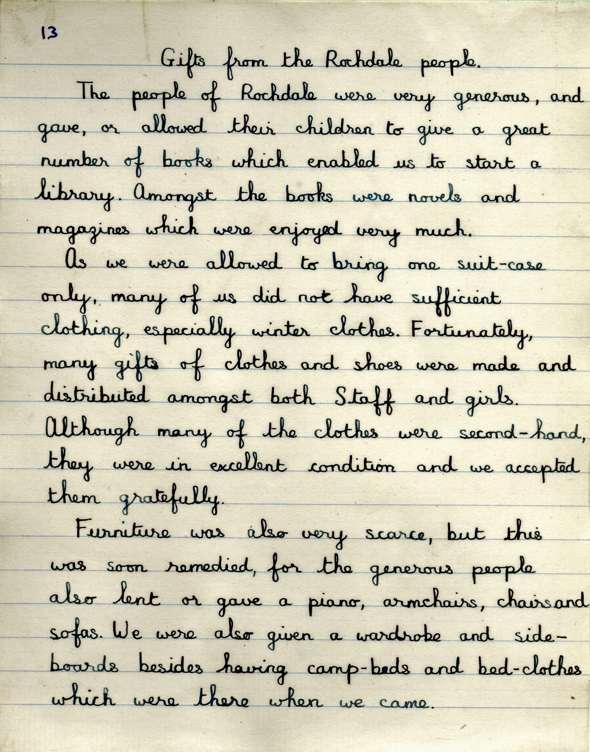 What's Changed? 3. Essay written by a child evacuee from the Channel Islands sent to Rochdale during the Second World War, 1940 page 1