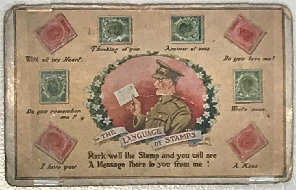 What's Changed? 25. 'The Language of Stamps' postcard sent during the First World War, 1918