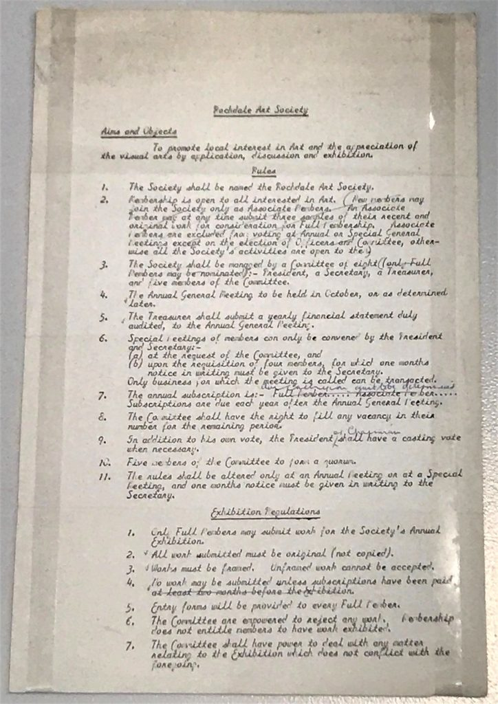 What's Changed? 48. Rochdale Art Society list of rules, 1985