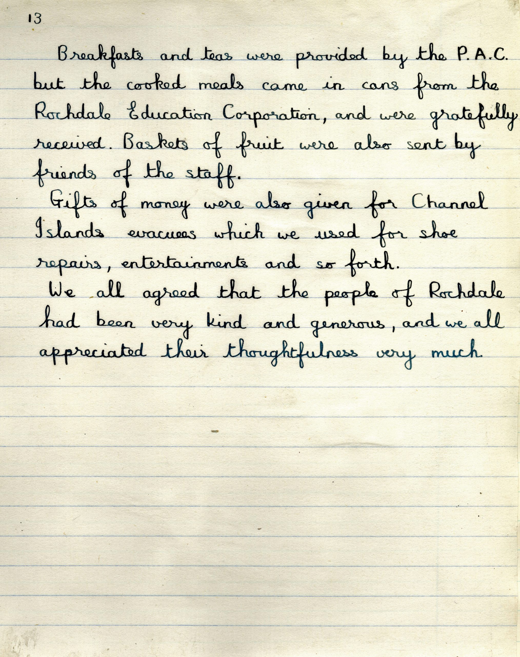 What' Changed? 3. Essay written by a child evacuee from the Channel Islands sent to Rochdale during the Second World War, 1940 part 2