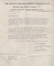 BBC radio broadcast letter, 1942
