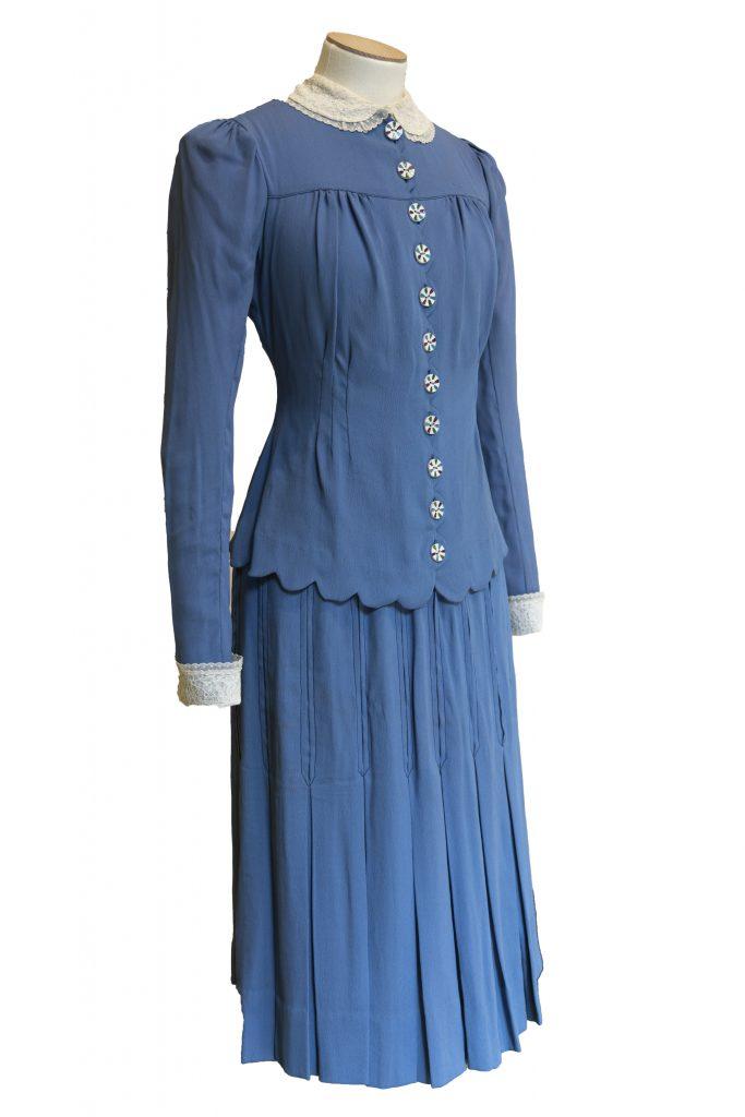 Mrs Dania's wedding dress in RAF blue, 1941