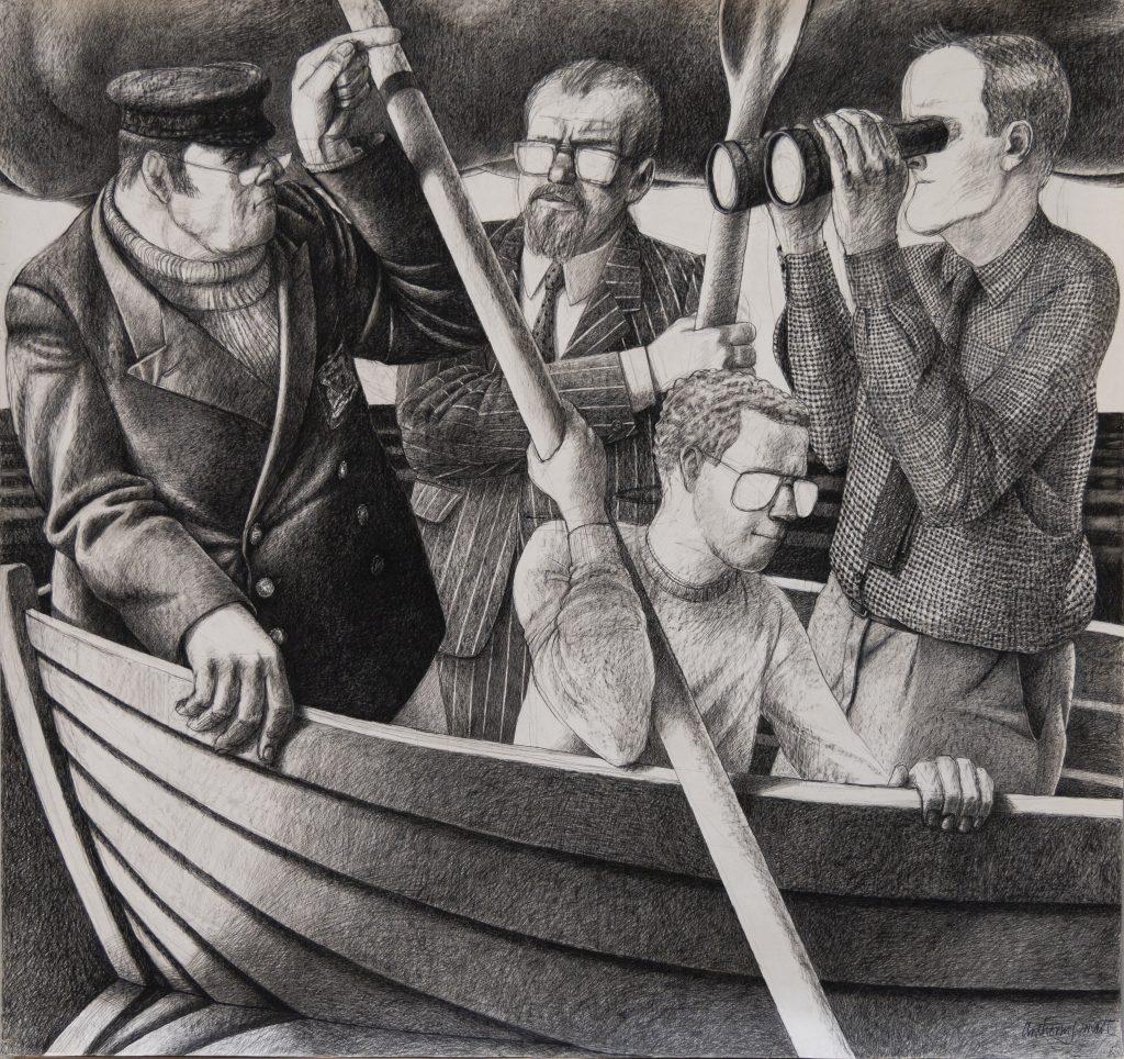 Four Men in a Boat, 1987 Tony Smart, (b.1938)